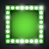 Frame lamp. Vector green neon lights lamp vector frame template Royalty Free Stock Image