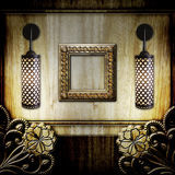 Frame and lamps on wooden background Royalty Free Stock Photos