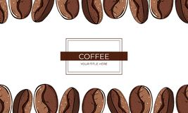 Frame of large roasted coffee beans on a white background stock illustration