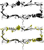 Frame from leaf. Black and White and Color. Top Frame - one layer, Second Frame - Multi layer Vector Illustration