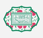 Frame with leafs and apples of 100 percent organic food. Vector illustration vector illustration