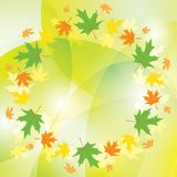 Frame of leaves on abstract background - vector colorful autumn. Round frame of leaves on abstract background - vector colorful autumn Vector Illustration
