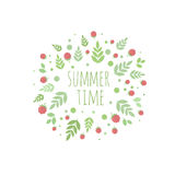 Frame with leaves and berries. Summer time Stock Image