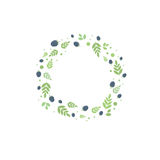 Frame with leaves and berries. Vector template for design Royalty Free Stock Image