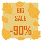 Yellow autumn leaves around the inscription a big sale and a discount of 90 percent. A frame of leaves on a brown background, a big sale discount of ninety vector illustration