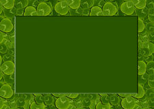 Frame leaves clover trefoil shamrock pattern. St. Patrick green background Irish royalty free stock photography
