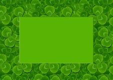 Frame leaves clover trefoil shamrock  pattern. St. Patrick green background Irish Royalty Free Stock Photo