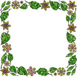 Frame of leaves and flowers on white background Stock Photos