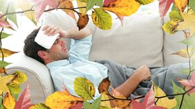 Frame of leaves and man suffering from fever. Frame of autumn leaves and man suffering from fever 4k stock video