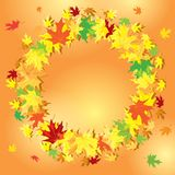 Frame of leaves on orange background - vector colorful autumn. Round frame of leaves on orange background - vector colorful autumn Stock Image