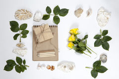 Frame from the leaves of roses and shells on white background. Memory of summer Stock Photo