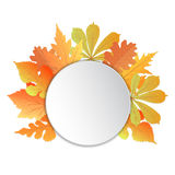 Frame with leaves. Template for autumn events to Teacher , to Thanksgiving Day, to Oktoberfest Stock Photos