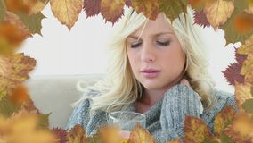 Frame of leaves and woman suffering from allergy sneezing. Frame of autumn leaves and woman suffering from allergy sneezing 4k stock footage