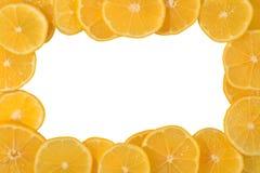 Frame of lemon slices on a white Stock Images