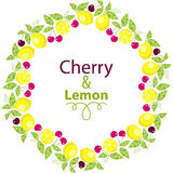 Frame of Lemons with leaves and cherry on a white background. Vector illustration stock illustration
