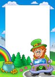 Frame with leprechaun driving car Royalty Free Stock Images