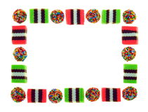 Frame of Licorice Allsorts. A border made from licorice allsorts - isolated over pure white Stock Photography