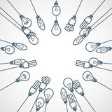 Frame of light bulbs hanging on cords Royalty Free Stock Photography