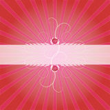 Frame with Lightbursts 2. Frame with rose, swirl and light burst design, red pink background, vector illustration Royalty Free Stock Images