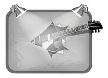 Frame with lighting and guitar Royalty Free Stock Photo