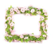 Frame of lilac artificial flowers. Royalty Free Stock Images