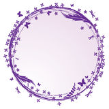 Frame with lilac, butterflies and dragonflies Stock Photo
