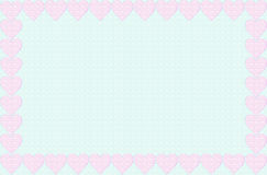 Frame lilac hearts on a turquoise background Royalty Free Stock Images