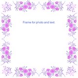 Frame of lilac twigs with pink flowers. stock illustration
