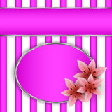 Frame with lilies. On striped background Stock Photo