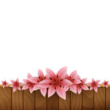 Frame of lilies on a wooden background Stock Image