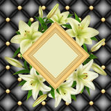 Frame with lily flowers. Illustration of greeting or invitation card template with frame, white lily flowers and upholstery background Royalty Free Stock Photography