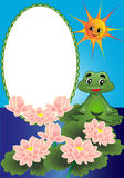 Frame lily and frog Royalty Free Stock Photo