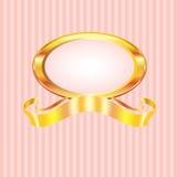 Frame listrado cor-de-rosa da pérola com ouro Imagem de Stock