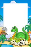 Frame with little dinosaurs. Color illustration Royalty Free Stock Image