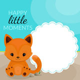 Frame with little fox and place for text Royalty Free Stock Image
