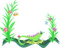 Frame of Lizard, Plants and Flowers Stock Image