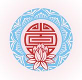 Frame with lotus.Oriental background Stock Photo