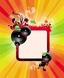 Frame, loudspeakers & rainbow rays. Vector illustration royalty free illustration