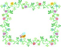 Frame of Lush Garden Vines, Flowers, and Bee Stock Photo