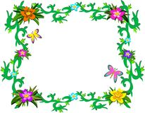 Frame of Lush Tropical Plants and Butterflies Royalty Free Stock Photo