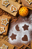 Frame made ​​from nuts and gingerbread cookies Stock Image