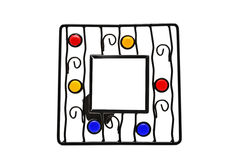 Frame made ​​in forge and crafts stained glass Royalty Free Stock Photos