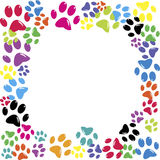 Frame made of animal paws Stock Images