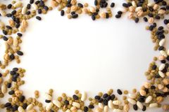 Frame made of assorted legumes stock photos
