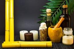 Frame made of bamboo for spa salon stock photos