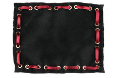 Frame made of black silk with inserted red satin ribbon, isolated Royalty Free Stock Images