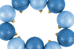 Frame made of blue christmas baubles Stock Image