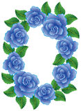 Frame made of blue roses Royalty Free Stock Photos