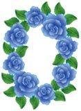 Frame made of blue roses vector illustration