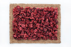 Frame made of burlap with dried cranberries Royalty Free Stock Image